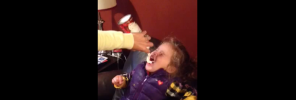 funny video kid puking whip cream