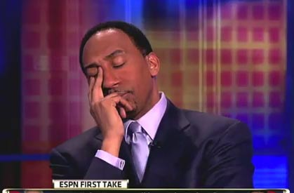 Stephen A Smith funny face Skip Bayless asleep