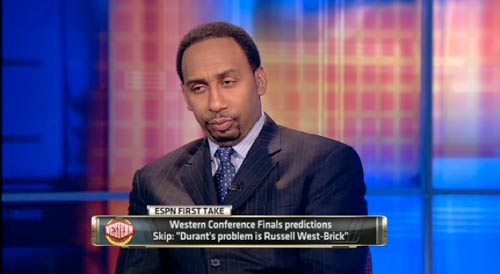Stephen A Smith funny face Skip Bayless tired