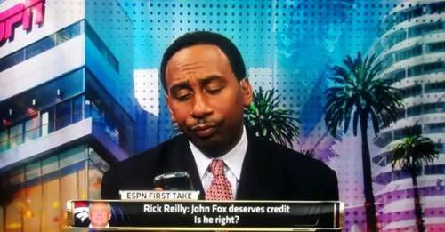 Stephen A Smith funny face Skip Bayless texting