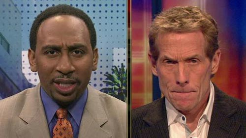 Stephen A Smith funny face Skip Bayless angry