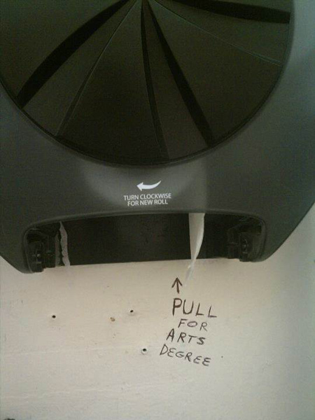 funny bathroom graffiti toilet paper degree
