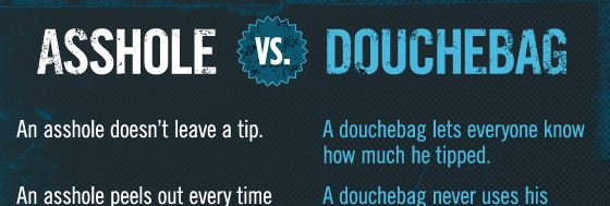 the difference between assholes and douchebags