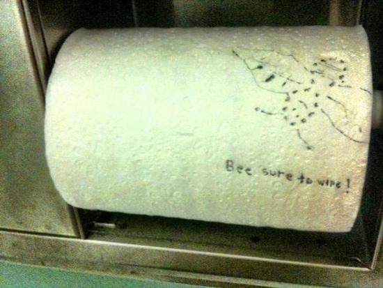 funny bathroom graffiti bee sure wipe
