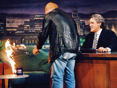 Bobcat Goldthwait Tonight Show Lights Chair on Fire