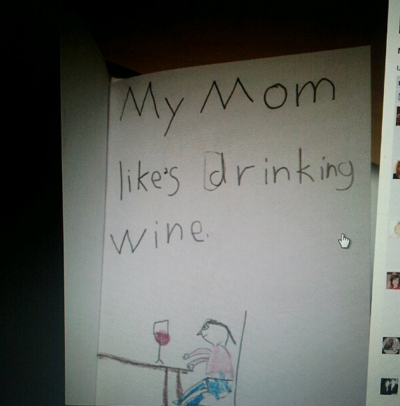 awkward mother's day card wine