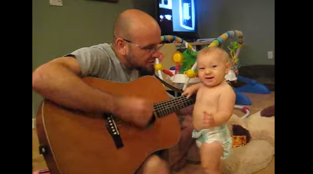 funny baby video rocks out