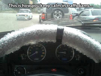 Funny Pictures bubble wrap steering wheel