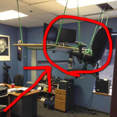 Funny Office Pranks Hanging Desk
