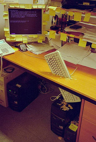 Funny Office Pranks keyboard through desk
