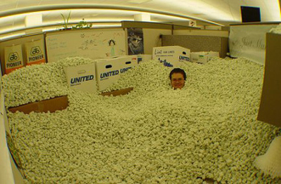 Funny Office Pranks packing peanuts