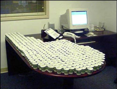 Funny Office Pranks Water Cups Desk