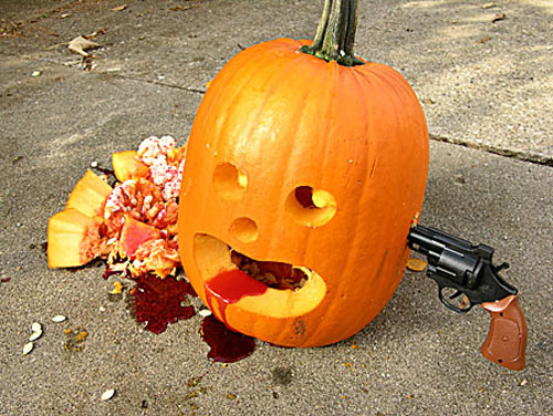 The final picture of our gunshot wound pumpkin. Ouch. That had to hurt. I  have included another picture, this one was from the book I wrote in 2006.